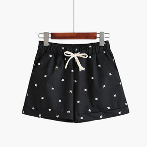 Casual Elastic Waist Printed Cotton Shorts