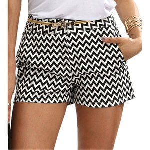 Black & White Mid Waist Casual Pocket Straight Shorts