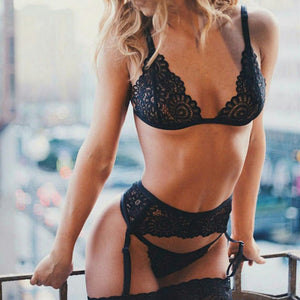 3pcs Transparent Bra Set + Garter Lace Sexy Lingerie