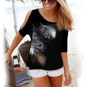 Casual O-Neck Off-The-Shoulder Hollow Feather Print