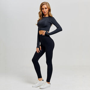Leggings+Cropped Shirts Long Sleeve Tracksuit Active Wear