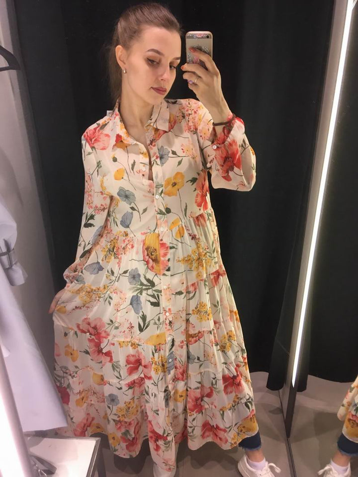 Women Floral Chiffon Dresses Summer