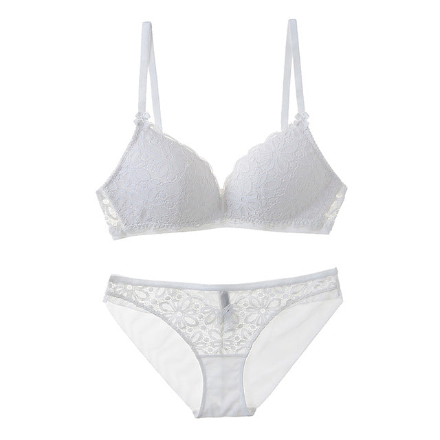 Sexy Lace 3/4 Cup Bra Sets Thin Cotton Breathable Lingerie Set