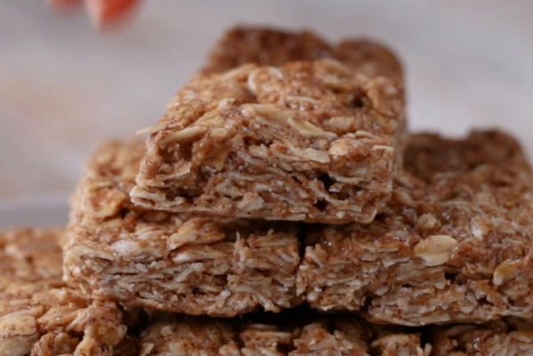 Oat bars made with Natural Almond Butter and Pure Natural honey