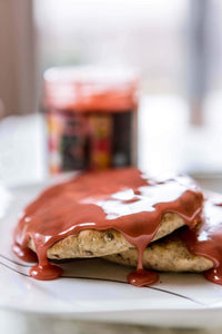 Raspberry Honey Spread on Pancakes