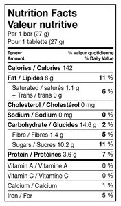 Sesame Bars 27g Nutritional Info