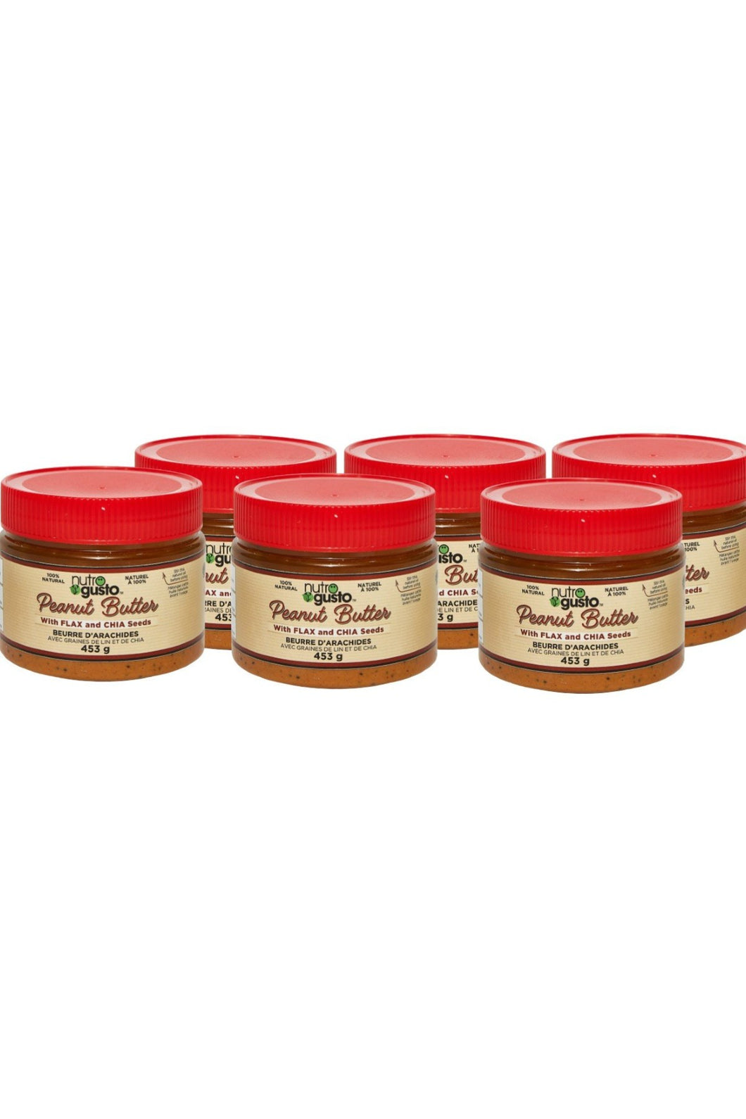 NutroGusto Natural Peanut Butter with Flax and Chia 454g - 6 Pack