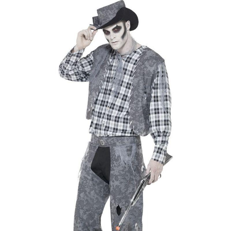 Ghost Town Cowboy Costume - Medium Mens Grey/Black
