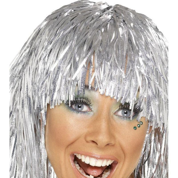 Cyber Tinsel Wig - One Size Womens Silver