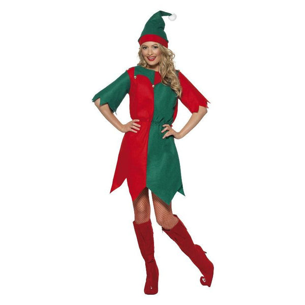Elf Costume Adult Red/green