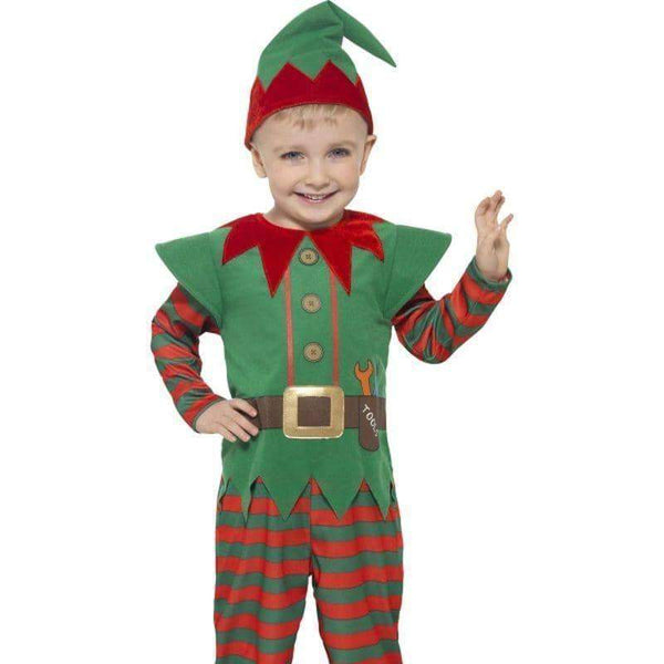 Elf Toddler Costume Kids Red/green - Childrens Christmas Costumes Mad Fancy Dress