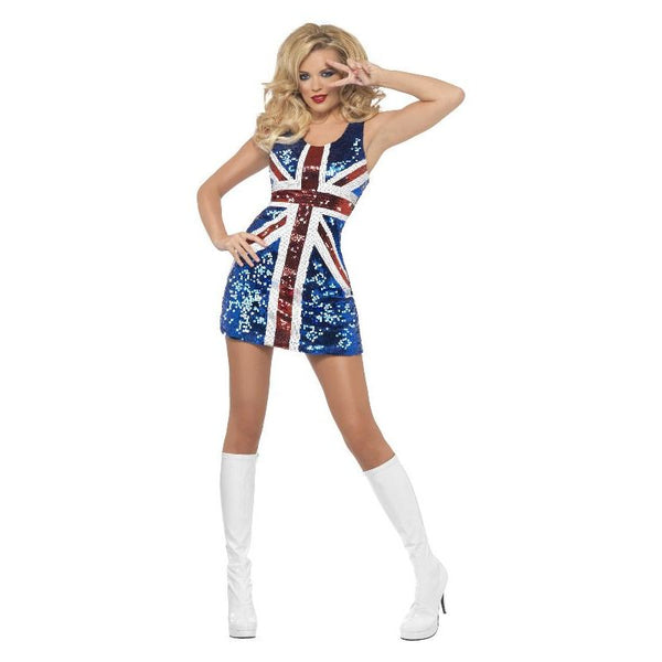 Fever All That Glitters Rule Britannia Costume Adult Blue/Red/White