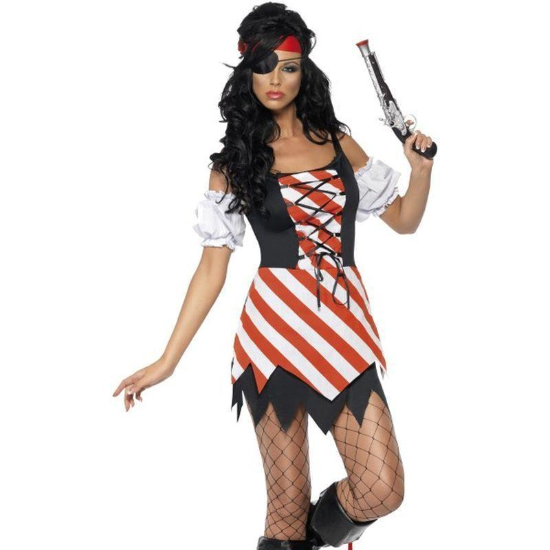 Fever Pirate Costume - UK Dress 8-10 Womens Black/Red/White