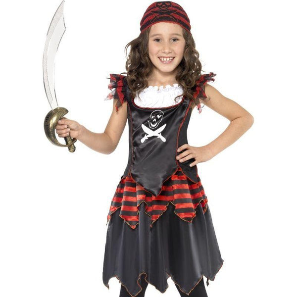 Pirate Skull and Crossbones Girl Costume - Small Age 4-6 Girls Red/Black