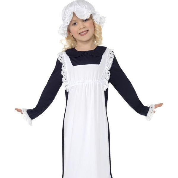 Victorian Poor Girl Costume - Small Age 4-6 Girls White/Blue
