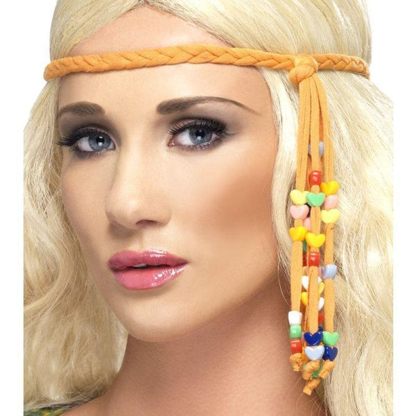 1960s Hippie Beaded Headband - One Size