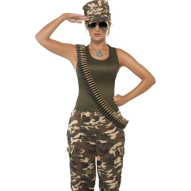 Khaki Camo Costume, Female - UK Dress 8-10 Womens Camo