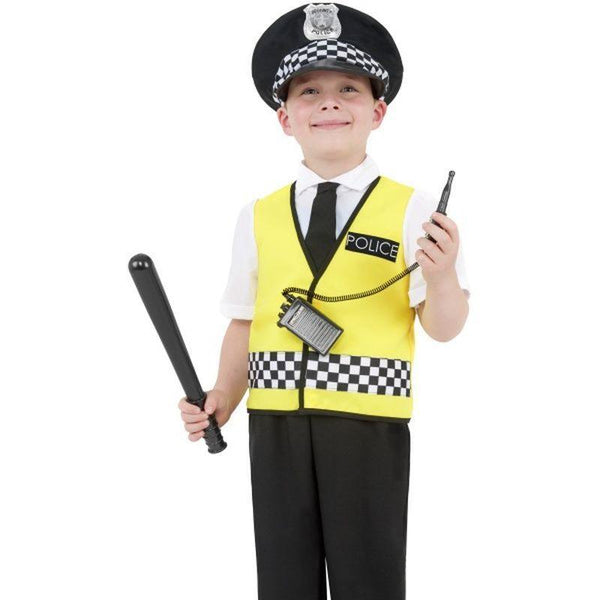 Police Boy Costume - Small Age 4-6 Boys Yellow/Black