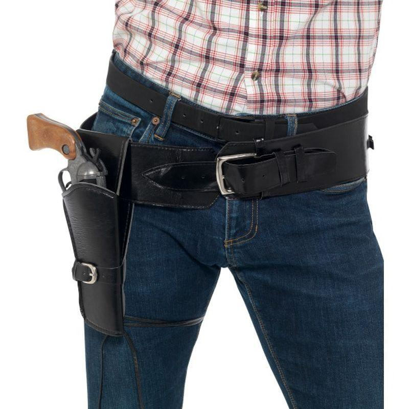 Adult Faux Leather Single Holster With Belt Adult Black