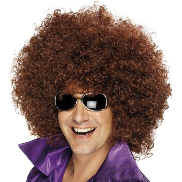 Afro Wig, Mega-Huge - One Size Mens Brown