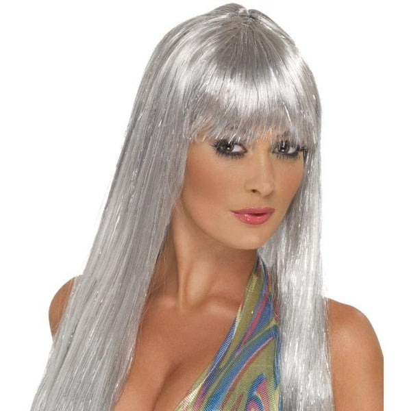 Glitter Disco Wig - One Size Womens Silver