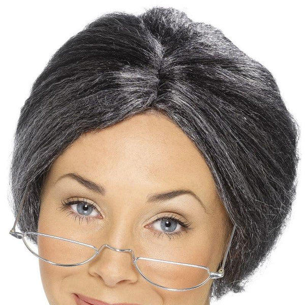 Granny Bun Wig - One Size Mens Grey