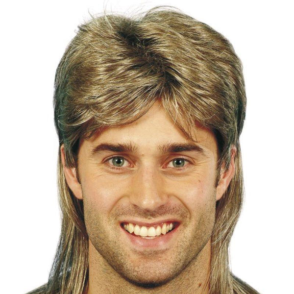 Mullet Wig - One Size Mens Brown
