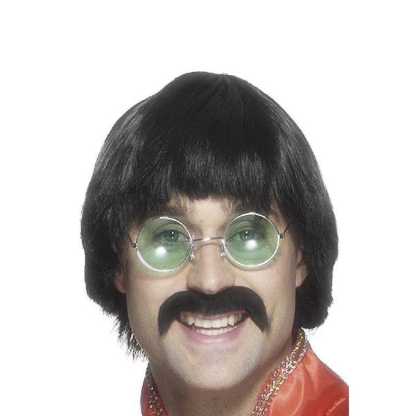 70s Mersey Wig & Tash - One Size Mens Black