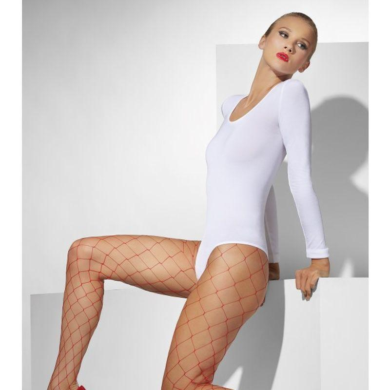 Diamond Net Tights - One Size Womens Red