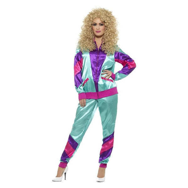 80s Height Of Fashion Shell Suit Costume Female Adult Green/purple