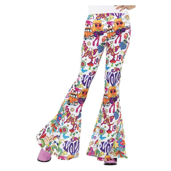 Groovy Flared Trousers Ladies Adult White
