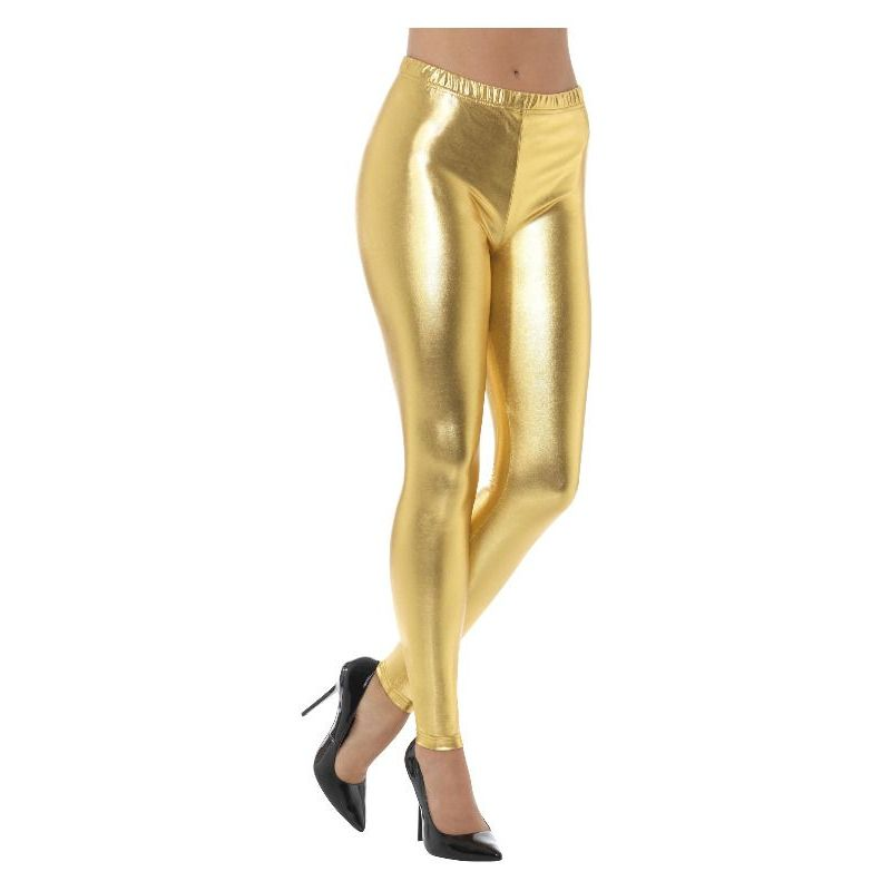 80s Metallic Disco Leggings Adult Gold