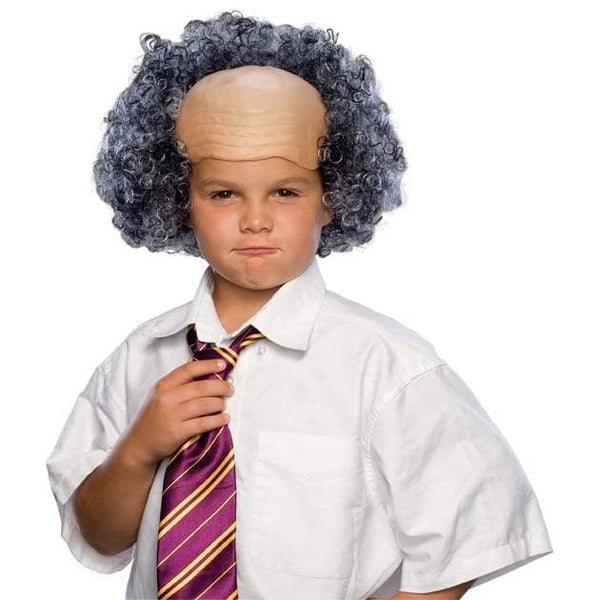Bald Wig With Grey Curly Sides Child