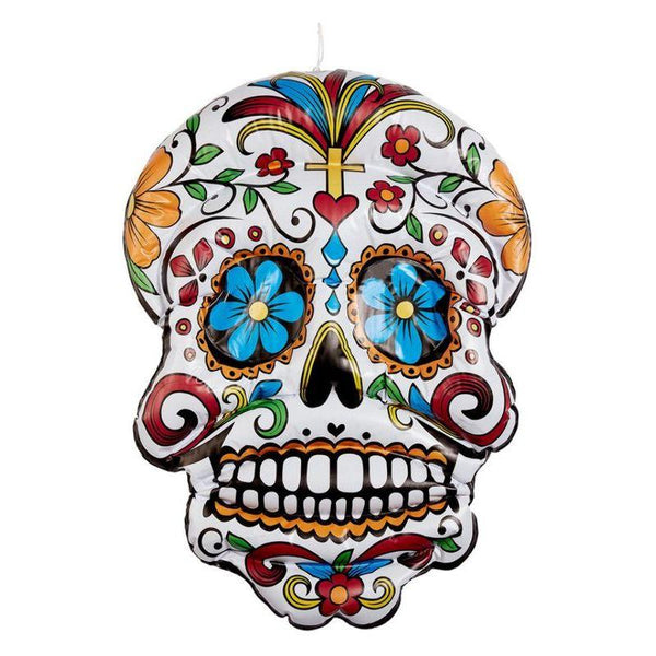 Inflatable Day of the Dead Hanging Skull, White