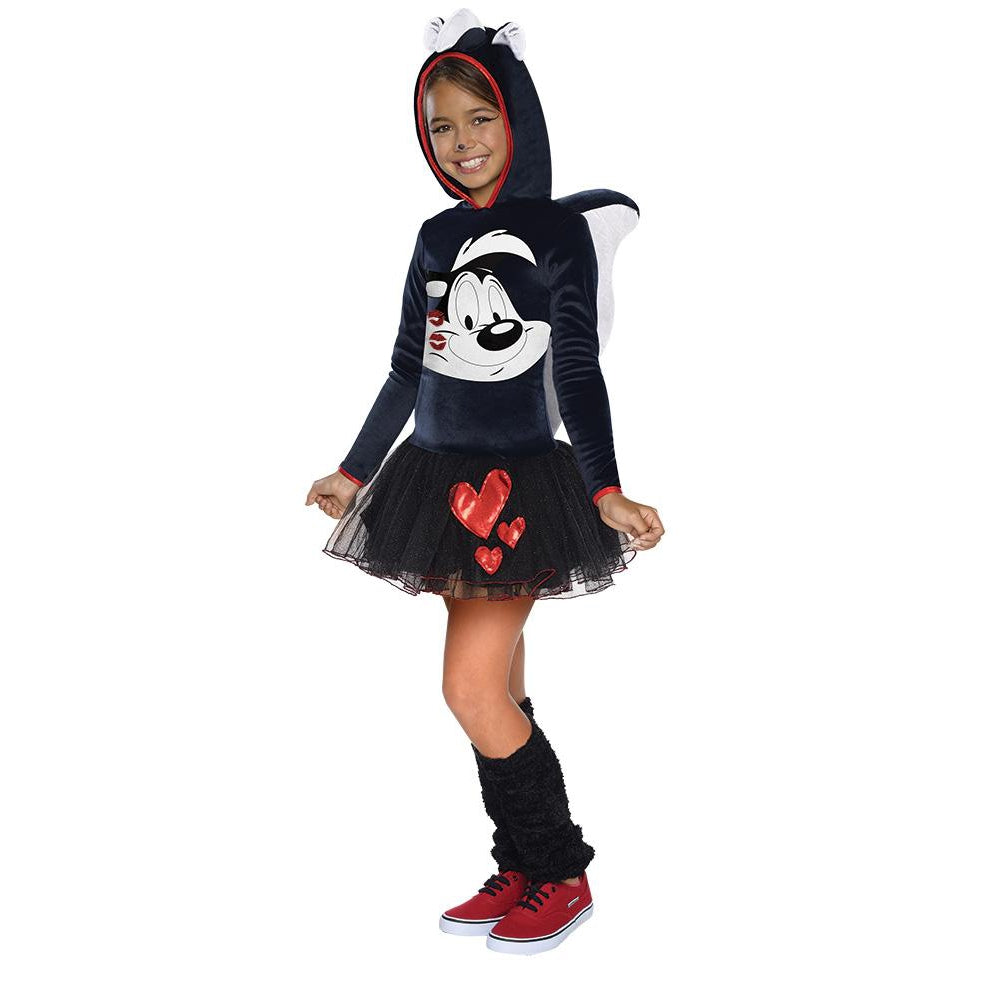 Pepe Le Pew Girls Hooded Costume