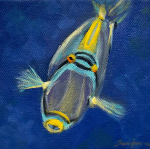 "Neon Colored fish, 6""x6"""