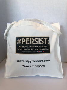 "Small cotton Tote Bag, 14""x14""x 3"", with black and white #PERSIST logo"