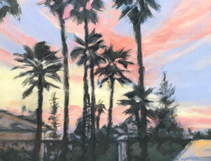 "Vista Palms at Sunset, 11""x 14"""