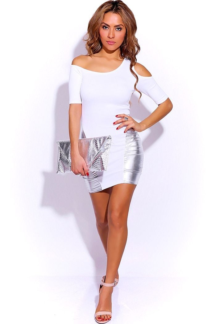 Off Shoulder White Mini Dress Full White NI59