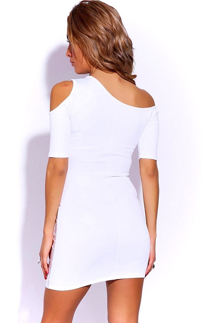 Off Shoulder White Mini Dress Back NI59