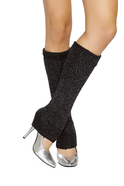 sparkle legwarmers knit legwarmers roma costume lw102 black and silver