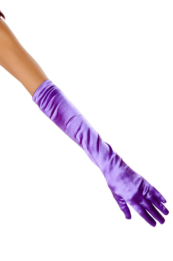 Elbow Length Satin Gloves RM-10104 purple