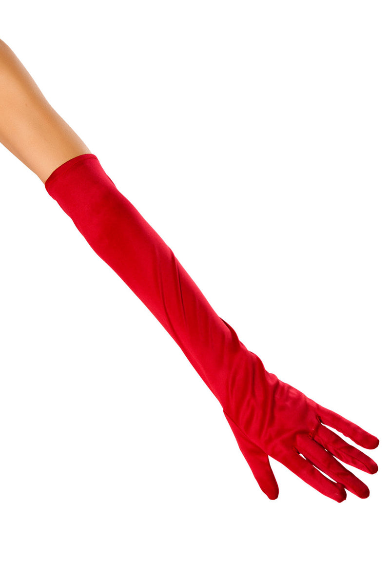 Elbow Length Satin Gloves RM-10104 Red