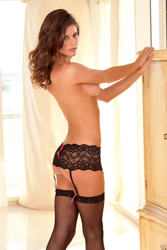 Crotchless Lace Boyleg black back RR1030