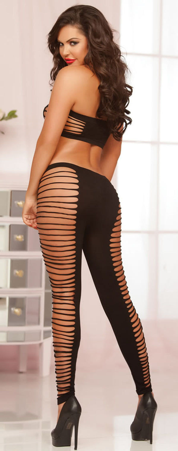 Seamless Slashed Bandeau and Legging Set STM10542P-XG Back