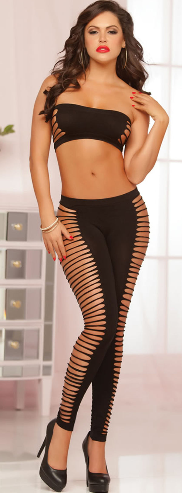 Seamless Slashed Bandeau and Legging Set STM10542P-XG Front