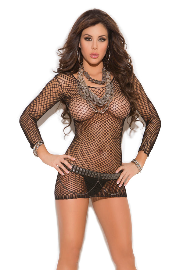Long Sleeve Fence Net Dress Black Front EM1408