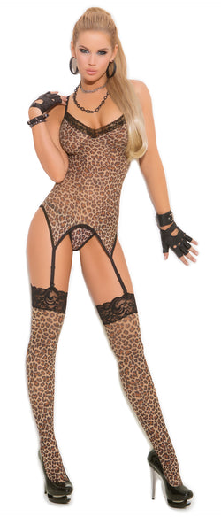 Three Piece Leopard Print Garter Cami Set Front EM1411
