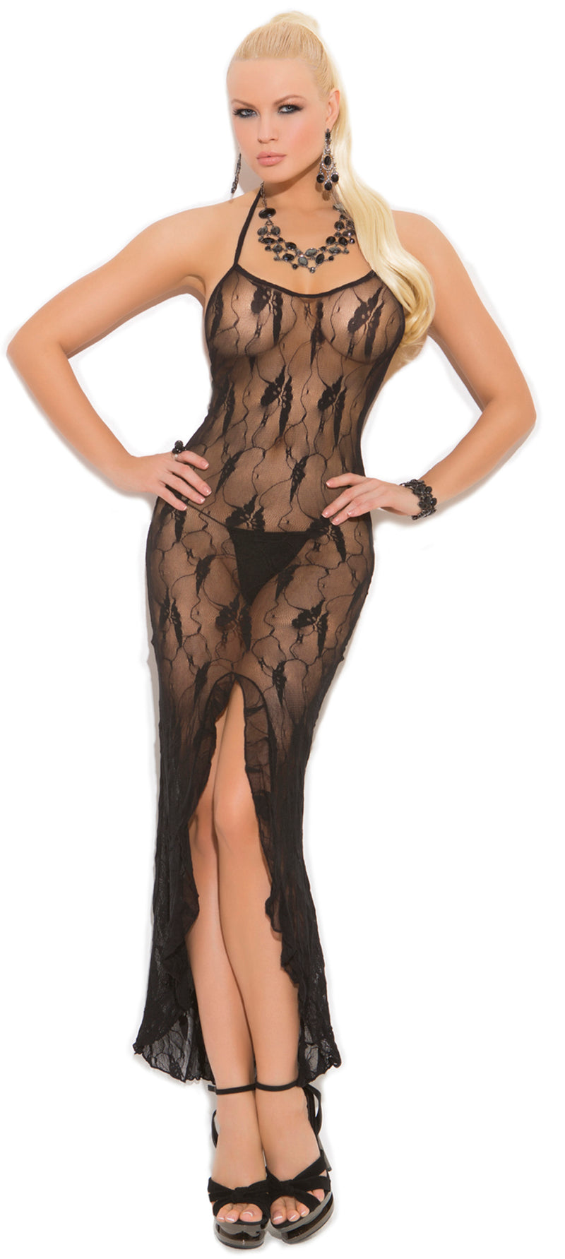 Black Butterfly lace slip style gown EM1442 Front