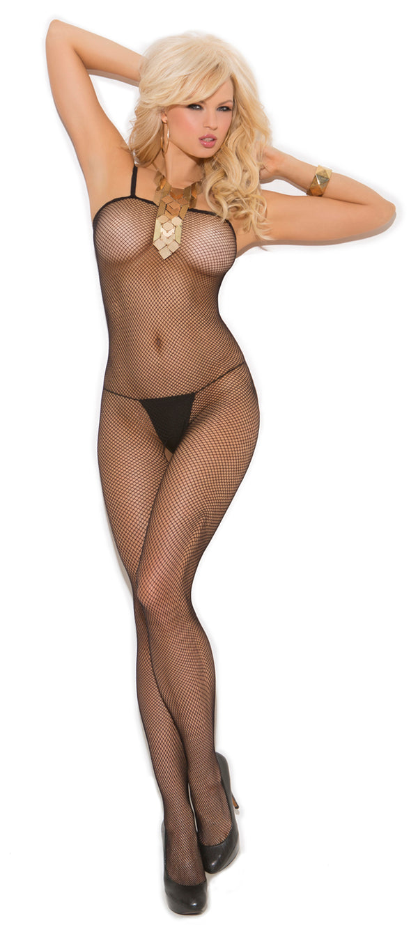 Seamless Fishnet Open Crotch Bodystocking Black Front EM1605